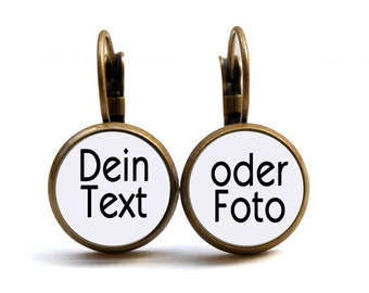 Cabochon Earrings (12mm) with your Text or Photo