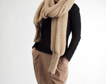 Ready knit champagne BOLERO SCARF for women/ Organic wool/ Long sleeved/ Cardigan/ Poncho/Crochet Sweater for woman