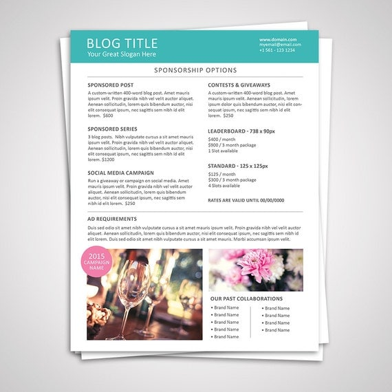 Blog Media Kit Template 01 Ad Rate Sheet Template Press – Rate Sheet Template