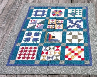Sampler Quilt Pattern Gift Holiday Christmas Lap