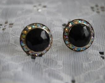 Vintage Costume Sapphire and Rhinestone Earrings