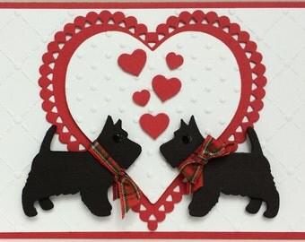 Scottie Dogs Love or Valentine Day Card,  Unique Valentine Card, Handmade 3D Valentine Card, Handmade Love Card, Unique 3-D Card, Love Card