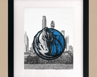 Dallas Mavericks CityScape Logo Print