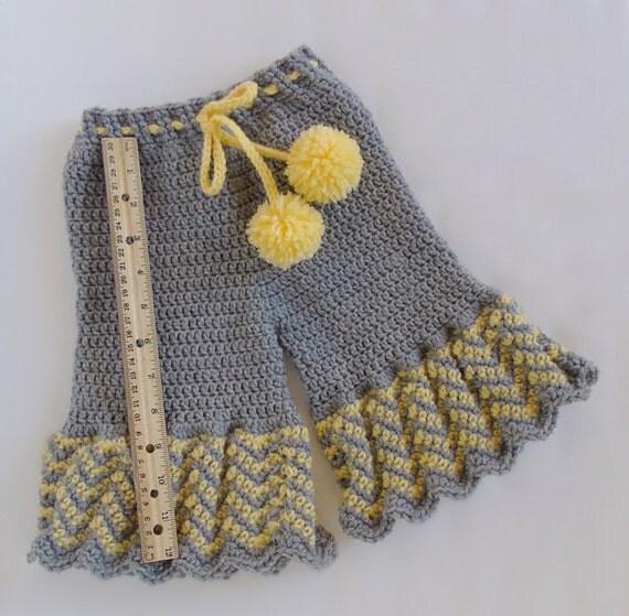 Crochet Chevron Baby Dress Pattern : Crochet Baby Girl Pants / Chevron Baby Pants / Ruffle by ...