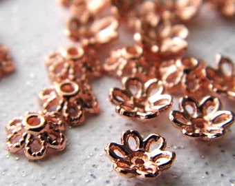 Rose Gold Bead Caps, Findings, Beads, Jewelry Supplies