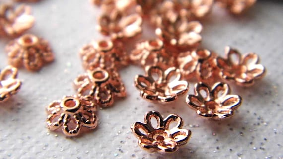 Rose Gold Bead Caps Findings Beads Jewelry Supplies