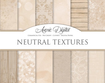 Shabby chic Neutral textures Digital Paper. Scrapbooking Backgrounds, tan patterns for Commercial Use. Grungy wallpaper Instant Download.