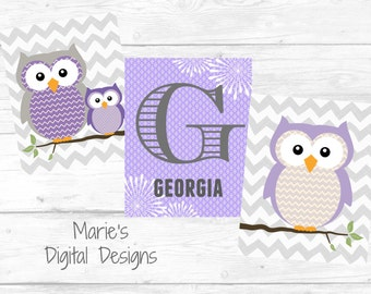 Personalized Owl Wall Art - Set of 3 Printable Digital Files - Children's Room / Baby Nursery