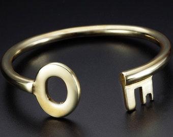 Brass Key Cuff Bracelet