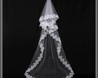 Cathedral Length Bridal Veil, Wedding Veils, Lace Bridal Veil, Long Wedding Veil, Wedding Veil Headpiece, Bridal Veil Cathedral / V045