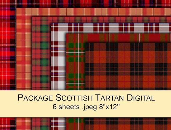 Tartan Plaid Scottish Red Green Black White Fabric Digital
