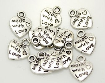 20pcs--Heart, Made with Love, Antique Silver  (B11-5)