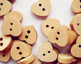 12pcs--Heart Wooden Buttons, Blanched Almond (B31-6)