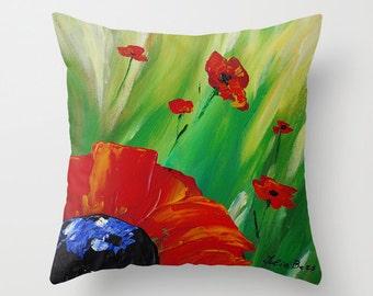 Poppy Pillow Cover, Red Pillow, Green Pillow, Floral Pillow, Art Pillow, Accent Throw Pillows for Couch, Cushions, Decorative Pillows 24x24