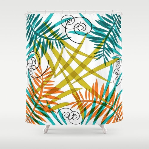 Shower Curtain Teal Orange Curtain Bath By DesignbyJuliaBars