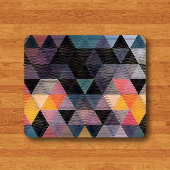 Colorful Desks: Geometric Triangle Colorful Art Mouse Pad Desk Pad By