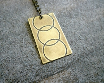 Etched Brass Pendant, Antiqued Brass Necklace, Etched Brass Jewelry, Oxidized Brass Pendant Necklace, Geometric, Modern, Circles