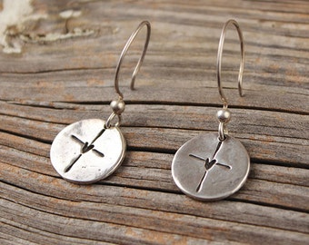 His Sweet Love Earrings, Visible Faith, Sterling Silver Jewelry, Christian, Handmade, Cross