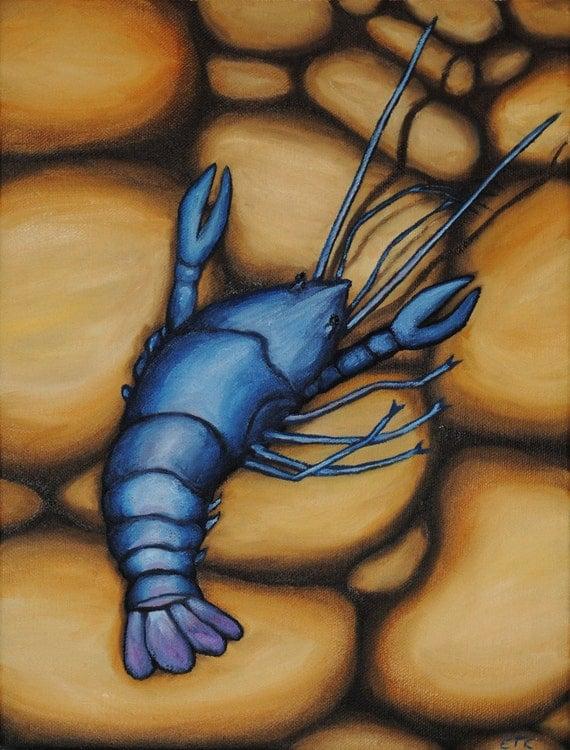 Blue Crawfish on Yellow Rocks
