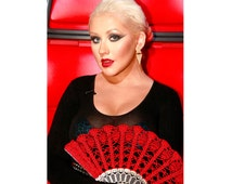 HAND FAN in deep RED, photo prop, wedding bouquet alternative, hand held fan, spanish wedding, Christina Aguilera's choice on The Voice,