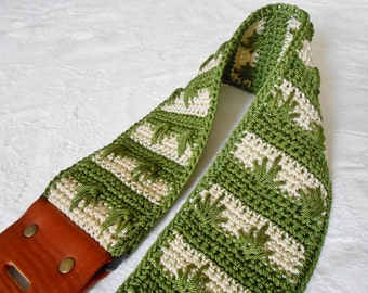 Handmade Crochet and Leather Guitar Strap 420