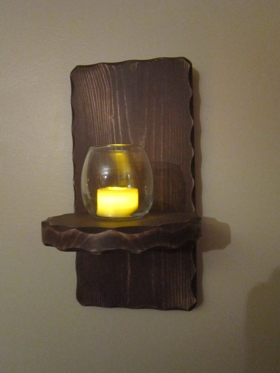 Wall Sconce Votive Candle Holder : Items similar to Wall Sconce - Candle Holder - Chocolate Brown - LED Votive Candle & Holder ...