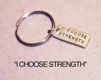 I Choose Strength Keychain.  For The Strength of Youth,  Choose strength.  Be strong. Young Women Young Men, CTR,  Encouraging necklace.