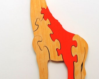 wooden girafe puzzle toy for childrens