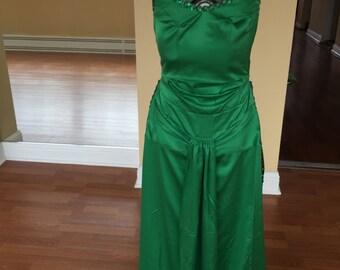 Green smooth dance dress