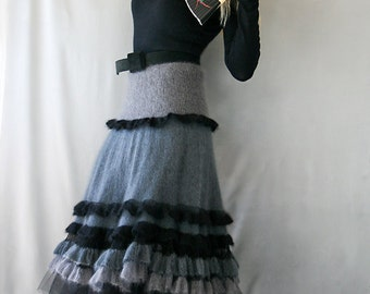 hand knitted mohair-silk skirt ruffled skirt