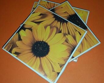 Sunflower Coasters - Sunflower Ceramic Coasters - Sunflower Tile Coasters - Ceramic Tile Coasters - Sunflower Drink Coaster - Flower Coaster