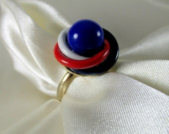 Patriotic Red, White & Blue Vintage Ring