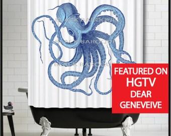 Blue Beauty Octopus Shower Curtain -nautical shower curtain