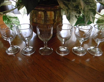 Clear Glass with Grapes/Vines Etched Sherry Drinking Cordials Goblets - Set of 6