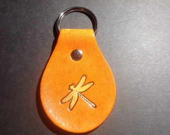 Leather Keychain/Key Fob with Dragonfly
