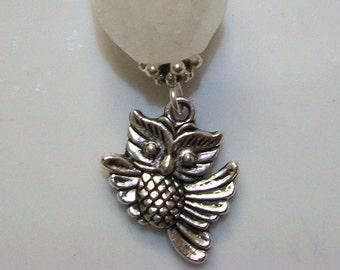 Quartz CRYSTAL Pendulum Necklace, Owl Pendulum Necklace, Silver Pendulum, Healing Crystal, Divination Pendulum, Dowsing Scrying, Owls, Gift