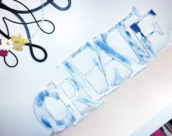 """Set of 6 Shabby Chic Block Letters: """"CREATE"""""""