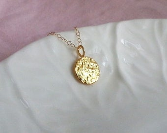 Gold Disc Necklace, Coin Necklace, Gold Tag Necklace, Textured Gold Filled Disc, Celebrity Style Jewelry