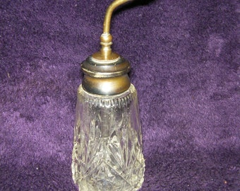 Antique, Sterling Silver and Cut Glass/Crystal perfume/throat Bottle, Perfume Atomiser.