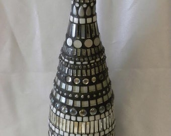 Mosaic Glass Bottle - Silver Bottle