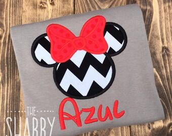 Minnie Mouse Personalized Shirt, Minnie Applique, Minnie Birthday, Girl Disney Shirt