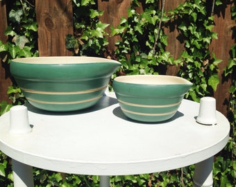 Vintage Striped Teal Nesting Mixing Bowls
