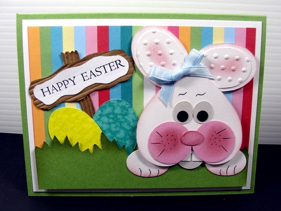 Easter Card, Happy Easter, Paper Handmade Greeting Card, Bunny Card, Embossed Card