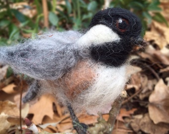 Needle Felted Chickadee Bird in a standing pose..Life size