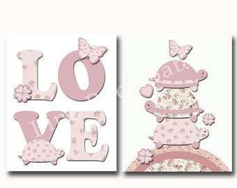 Pink nursery decor turtle, baby girl wall decor, baby girl room decor, pink play room decor, children room decor, baby love typography art