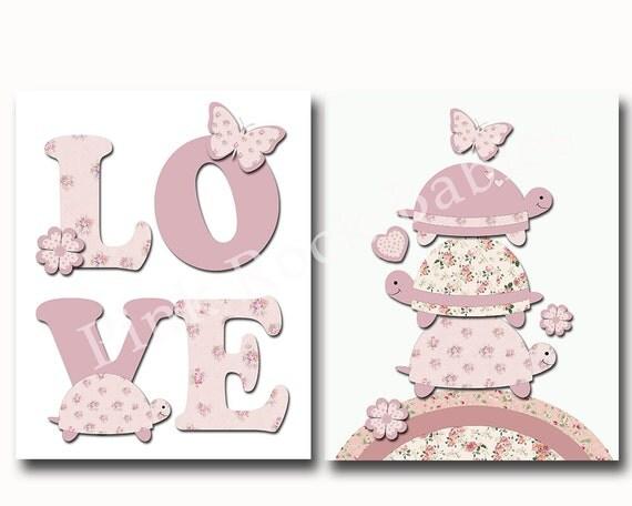 Wall Decor For Baby Girl : Pink nursery decor turtle baby girl wall