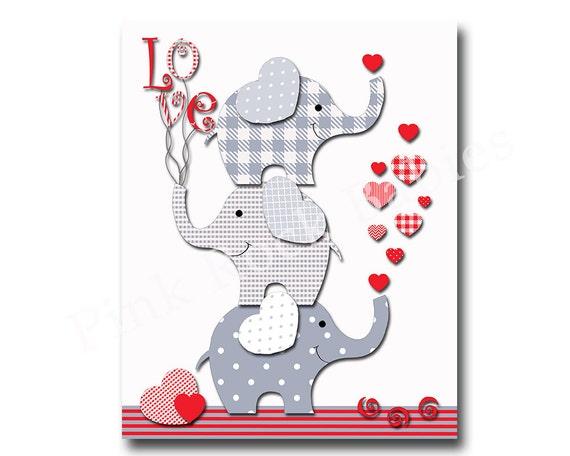 Nursery Elephant Print Nursery Decoration Red By Pinkrockbabies