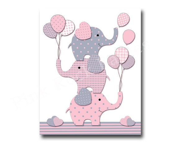 Elephant Nursery Decor Pink Grey Nursery Wall By