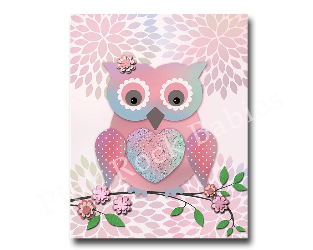 Owl nursery wall decor bird nursery wall art for baby girl for Baby girl wall decoration
