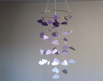 Nursery baby mobile, Cloud Purple ombre mobile. Crib mobile, Happy Birthday, All occasion mobile, Floating clouds crib mobile, Nursery decor